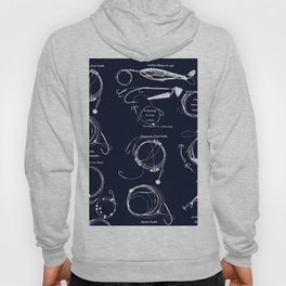 Maritime pattern- white fishing gear on darkblue background Hoody