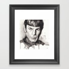 Spock Watercolor Portrait Framed Art Print