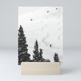 Backcountry Skier // Fresh Powder Snow Mountain Ski Landscape Black and White Photography Vibes Mini Art Print