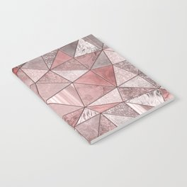 Soft Pink Coral Glamour Gemstone Triangles Notebook