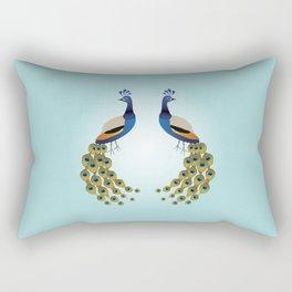 Two graceful male peacocks illustration Rectangular Pillow