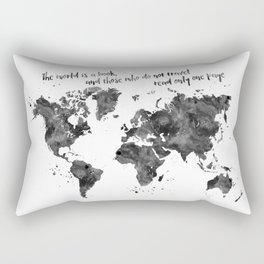 The world is a book, world map in black watercolor Rectangular Pillow