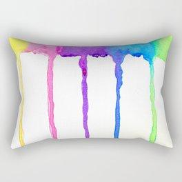 Neon Rainbow Paint Drips Rectangular Pillow