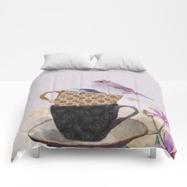 Bird in tea cup Comforters