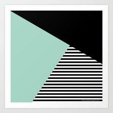Mint Color Block with Stripes // www.penncilmeinstationery.com Art Print
