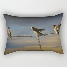 Barn Swallows on Barbwire Fence at Sunset Rectangular Pillow