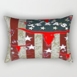 Grungy Old Looking Texas  Pride Longhorn Americana Rectangular Pillow