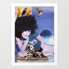 The girl with a bird's nest in her hair Art Print