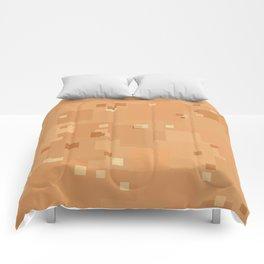 Peach Cobbler Square Pixel Color Accent Comforters