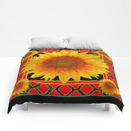RED-TEAL BLACK  DECO YELLOW SUNFLOWERS Comforters