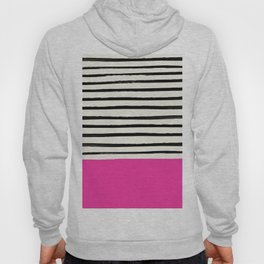 Bright Rose Pink x Stripes Hoody