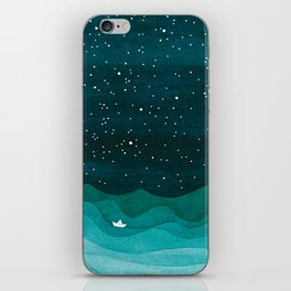 Starry Ocean, teal sailboat watercolor sea waves night iPhone Skin