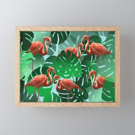 Monstera green Leaveswith Flamingos Framed Mini Art Print
