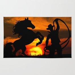 Cowboy at sunset Rug
