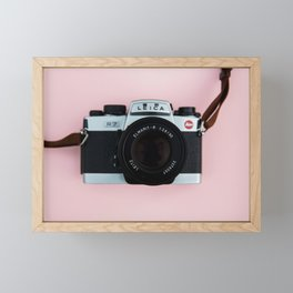 Camera on Blush Pink Background Framed Mini Art Print