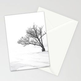 Lonely Tree on Frozen Lake Stationery Cards