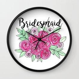 Bridesmaid Wedding Pink Roses Watercolor Wall Clock