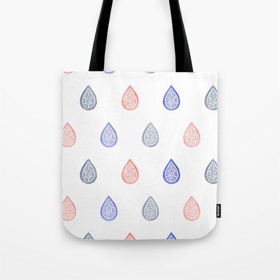 Rose quartz, serenity blue and lilac grey raindrops Tote Bag