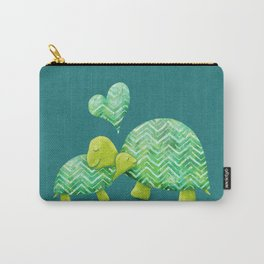 Sweet Turtle Hugs with Heart in Teal and Lime Green Carry-All Pouch