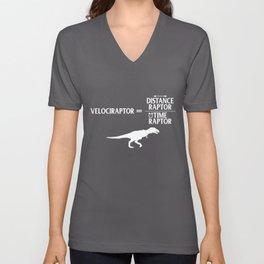Distanceraptor Divided By Timeraptor Velociraptor Unisex V-Neck