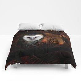 Barn owl at night Comforters