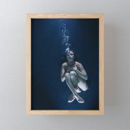 Woman Underwater Framed Mini Art Print
