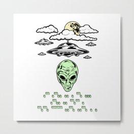 Funny Alien UFO Flying Saucers Prank Morse Code Aliens Like Coffee Metal Print