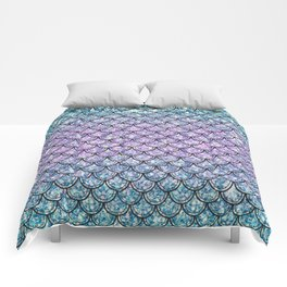 Blue & Lilac Glitter Mermaid Scales Comforters