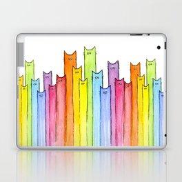 Cat Rainbow Watercolor Pattern Laptop & iPad Skin