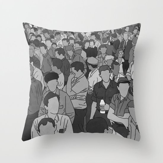 A Face in a Crowd - BW Throw Pillow