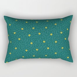 Polka dots and dashes // teal and olive Rectangular Pillow