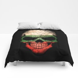 Dark Skull with Flag of Bulgaria Comforters