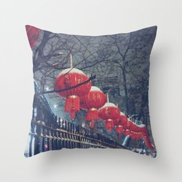 Red Lanterns in Chinatown, NYC Throw Pillow