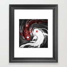 Koi Fish ying yang Framed Art Print