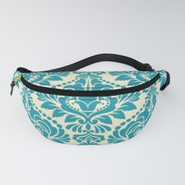 Teal and Ecru Damask Fanny Pack