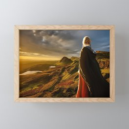 Woman at Sunset Panorama Landscape Framed Mini Art Print