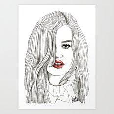 Georgia with Red Lips Art Print