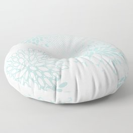 Festive, Floral Prints, Soft Teal, Mint Green and White, Modern Print Art Floor Pillow