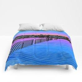 Fences on a winter sundown Comforters