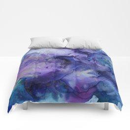 Abstract Watercolor Coastal, Indigo, Blue, Purple Comforters