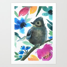 Watercolor Bird Art Print