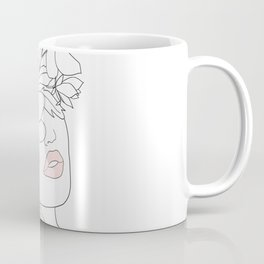 Minimal Line Art Woman with Magnolia Coffee Mug