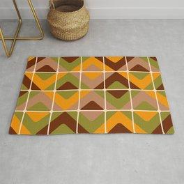Retro 70s diamond tiles upholstery fabric orange, brown Rug
