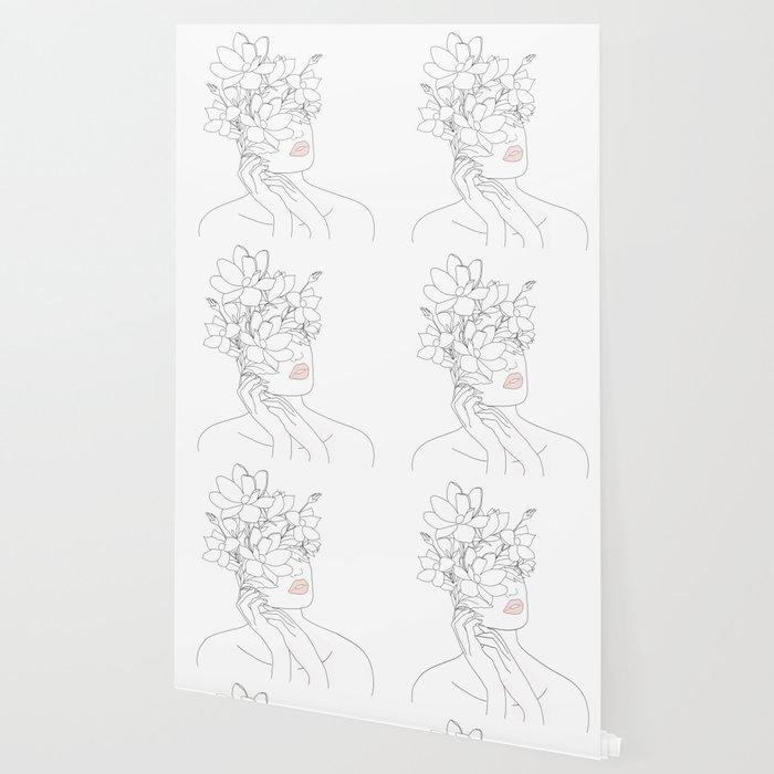 Minimal Line Art Woman with Magnolia Wallpaper