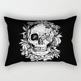 floral skull drawing black and white 2 Rectangular Pillow