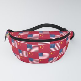Mix of flag: usa and China Fanny Pack
