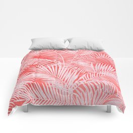 Tropical living coral blush pink glitter palm tree floral Comforters