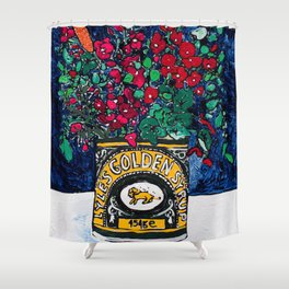 Wild Flowers in Golden Syrup Tin on Blue Shower Curtain