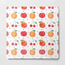Summer orange red watercolor fruit polka dots pattern Metal Print