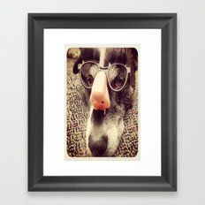 Hiding behind a disguise. Framed Art Print